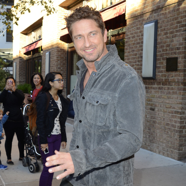 Gerard Butler is seen leaving his hotel in Manhattan