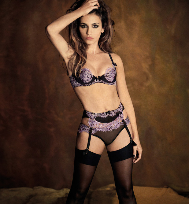 Monica Cruz posing in lingerie for Agent Provocateur