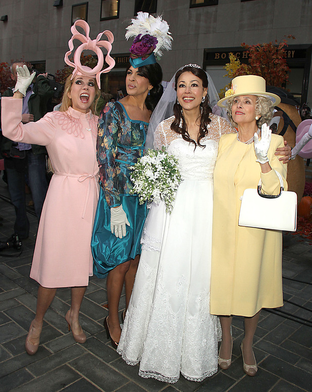 Kathie Lee Gifford, Hoda Kotb, Ann Curry and Meredith Vieira dress up as British Royals for a Halloween themed 'Today Show'