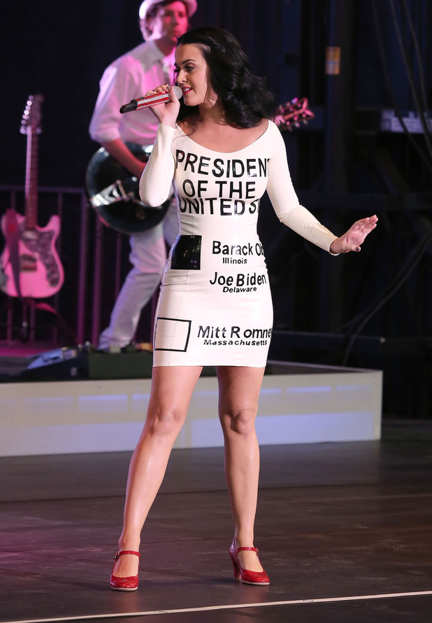 "Katy Perry performs at the ""America Forward"" Grassroots Event with President Obama at Doolittle Park Las Vegas, USA"