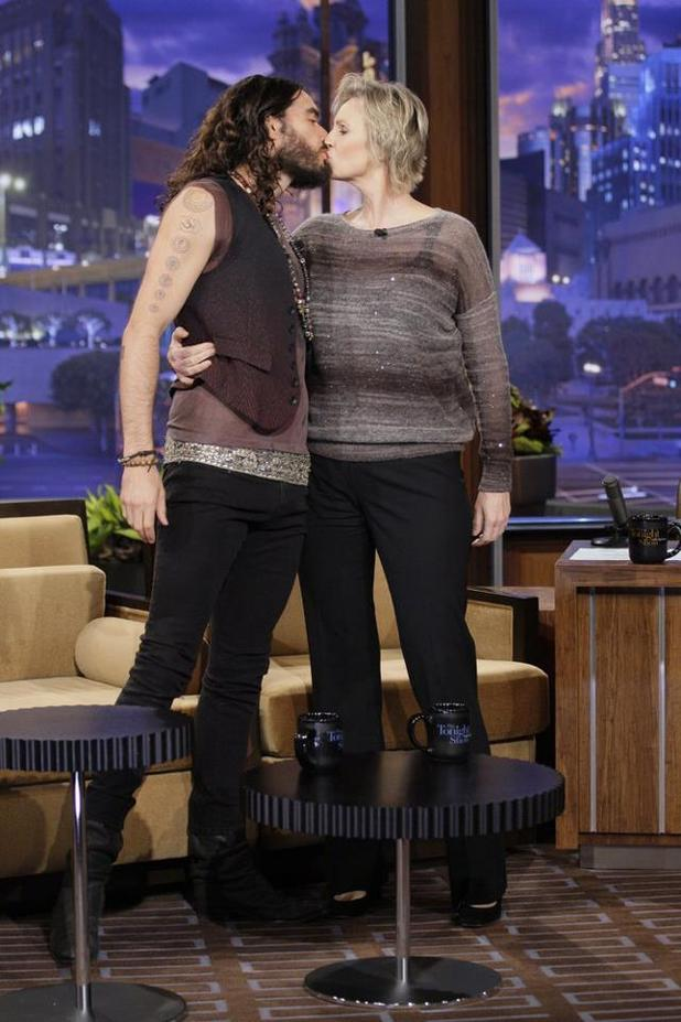 Russell Brand, Jane Lynch kiss on The Tonight Show with Jay Leno