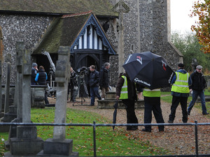 'Eastenders' cast filming scenes at a Church cemetery - Hertfordshire, England - 30.10.12
