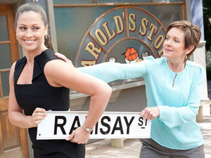 Nicola Charles as Sarah Beaumont and Jackie Woodburne as Susan Kennedy in Neighbours.