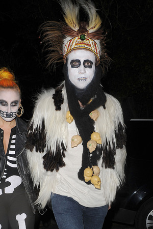 Nick Grimshaw leaving a Halloween party held at the home of television presenter Jonathan Ross. London, England