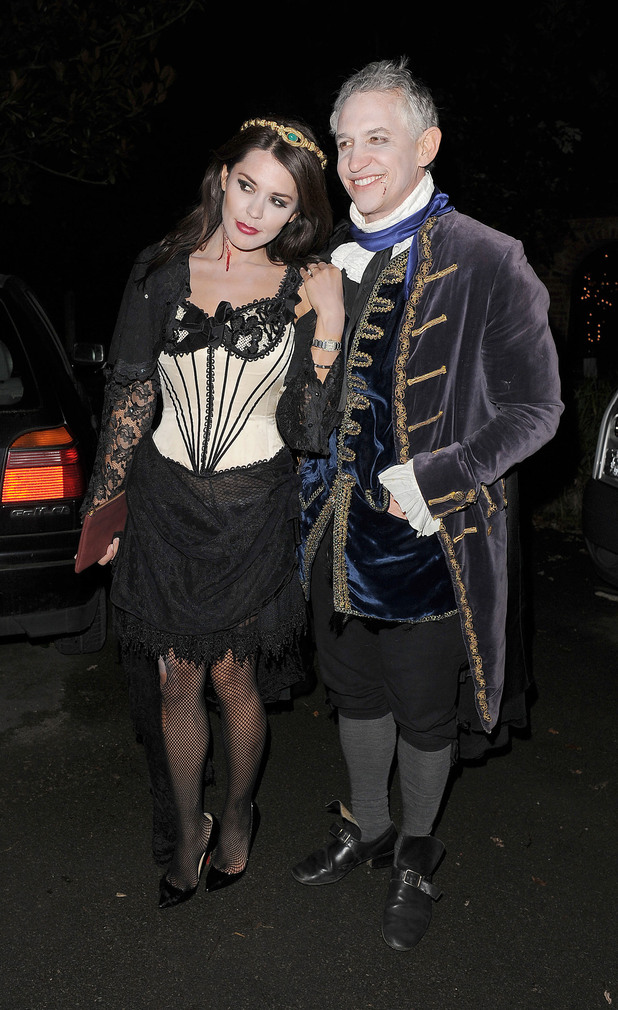 Danielle Lineker and Gary Lineker leaving a Halloween party held at the home of television presenter Jonathan Ross. London, England