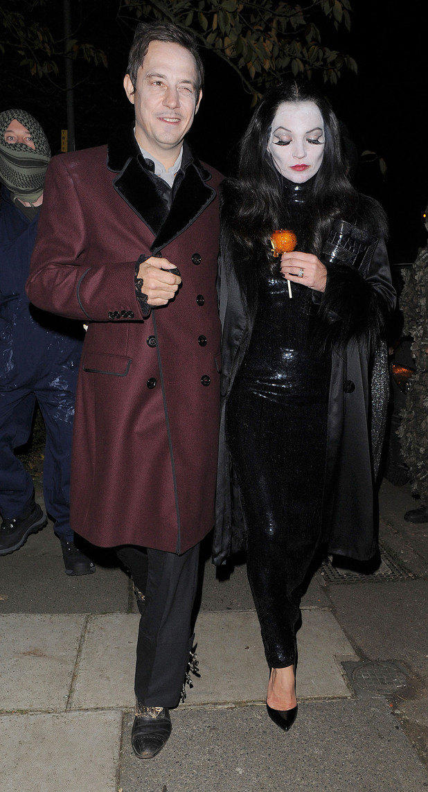 Kate Moss and Jamie Hince leaving a Halloween party held at the home of television presenter Jonathan Ross. London, England