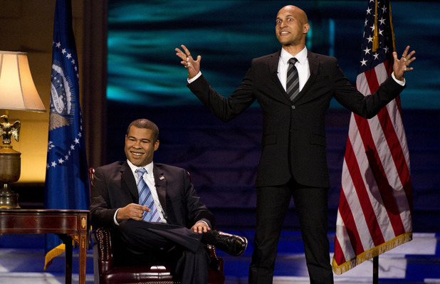 Jordan Peele, left, and Keegan-Michael Key appear onstage at The 2012 Comedy Awards in New York