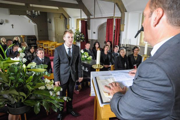Carl's funeral in Emmerdale