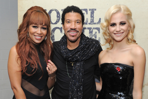 Lionel Richie, Pixie Lott and Rebecca Fergsuon at the O2 Arena, London.