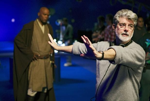 George Lucas prepares to shoot a scene with Samuel L Jackson's Jedi Mace Windu for Revenge of the Sith.