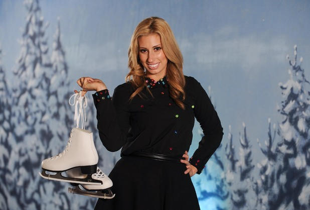 Stacey Solomon poses with ice skates for Disney on Ice.