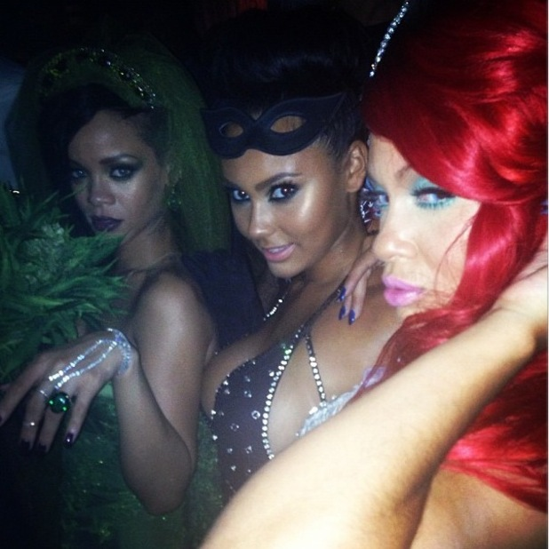 Rihanna and Evelyn Lozada in Halloween fancy dress