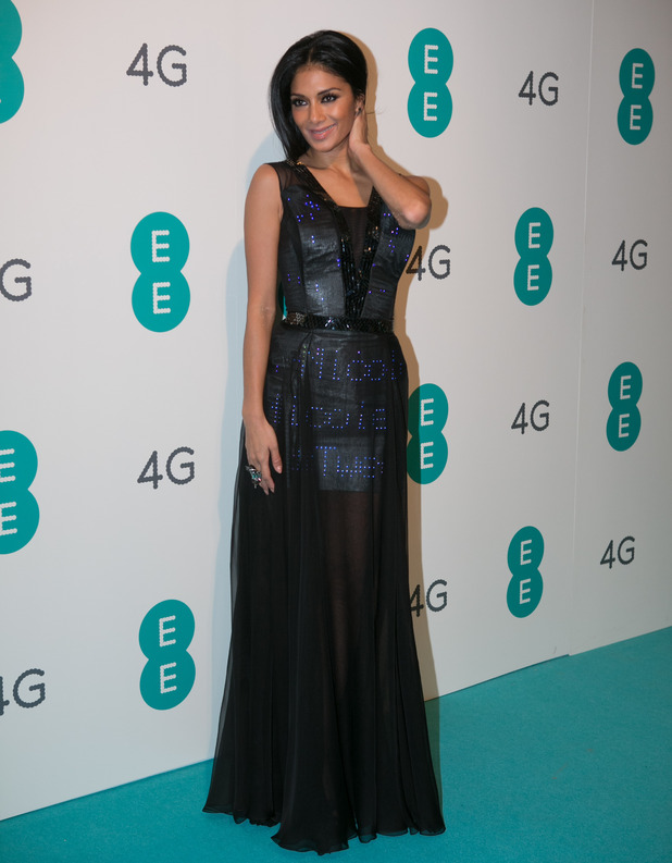 Nicole Scherzinger pictured in the UK's first ever twitter dress at the EE 4G launch event