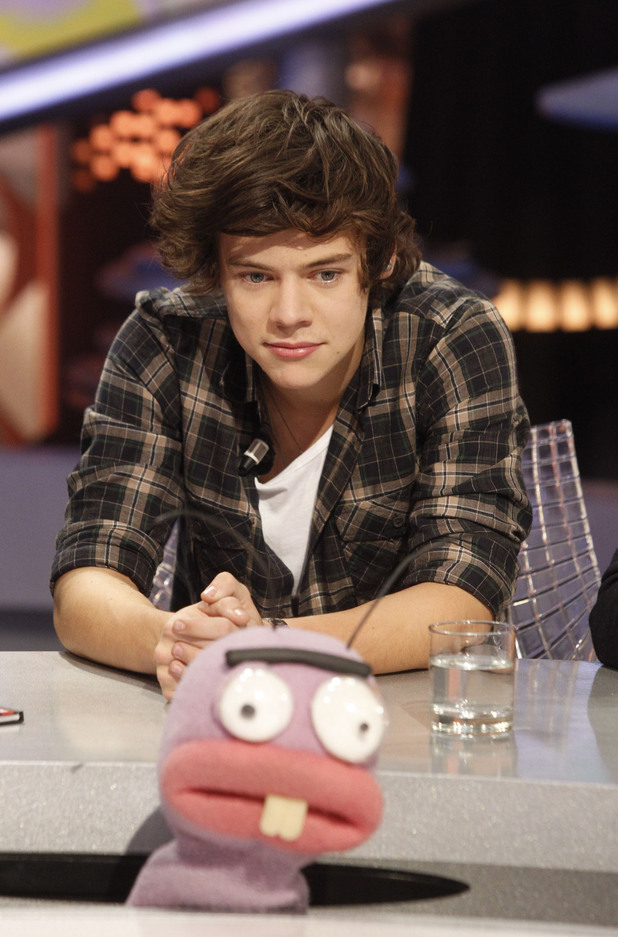 Harry Styles One Direction appear on  'El Hormiguero' TV show at Vertice Studios Madrid, Spain