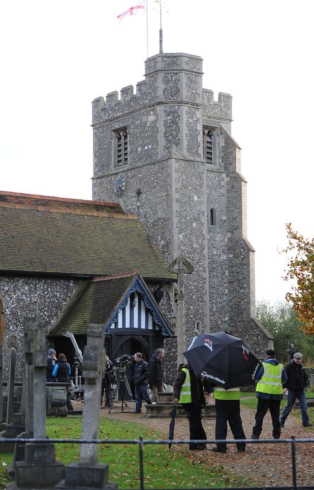 EastEnders - Stars film in churchyard, October 2012