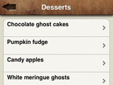 'Great Halloween Recipes' app screenshot