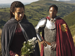 Merlin S05E06 - 'The Dark Tower': Sir Elyan (ADETOMIWA EDUN), Gwen (ANGEL COULBY)