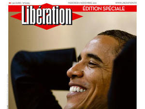 Newspaper covers on 08/11/12 covering the re-election of Obama: Liberation