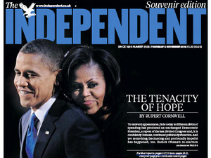 Newspaper covers on 08/11/12 covering the re-election of Obama: The independent