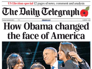 Newspaper covers on 08/11/12 covering the re-election of Obama: The Daily Telegraph