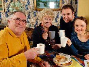 Jack Duckworth [Bill Tarmey], Vera Duckworth [Liz Dawn], Molly Compton [Vicky Binns] and Tyrone Dobbs [Alan Halsall] toast to Jack and Vera's new life in