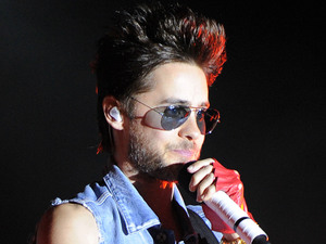 Jared Leto of 30 Seconds to Mars performs at the Sunset Cove Amphitheater .
