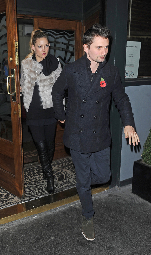 Matthew Bellamy and fiancee Kate Hudson leaving the Groucho Club after celebrating Muse band mate Dominic Howard's birthday.