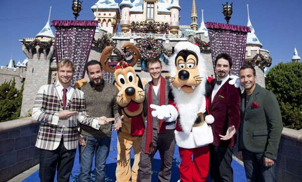 Backstreet Boys taping the 2012 Disney Parks Christmas Day Parade TV Special at Disneyland Park