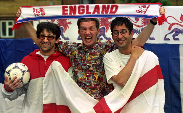 Ian Broudie from the Lightening Seeds (left to right), comedians Frank Skinner and David Baddiel at a photocall announcing their new recorded version of the Three Lions to coincide with the 1998 World Cup.
