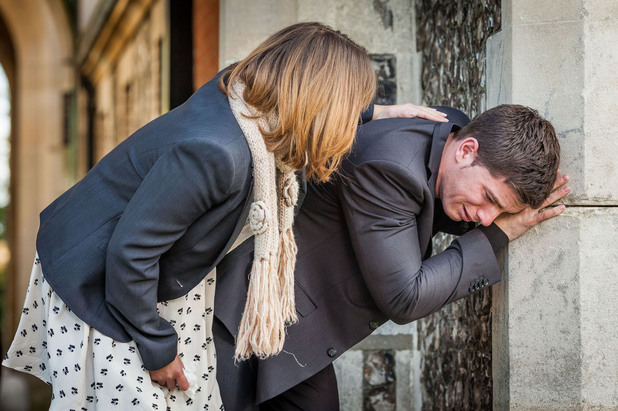 Alice and Joey at Derek's funeral