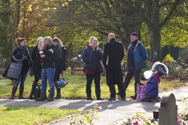 Derek's funeral in EastEnders