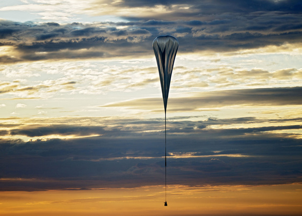 Space Dive - The balloon lifts up during the second manned test flight for Red Bull Stratos in Roswell, New Mexico, USA on July 25, 2012.