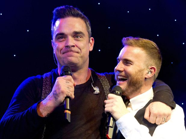 Gary Barlow and Robbie Williams at the Music Industry Trusts Award