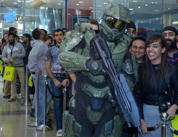 Fans queue up at with the Master Chief
