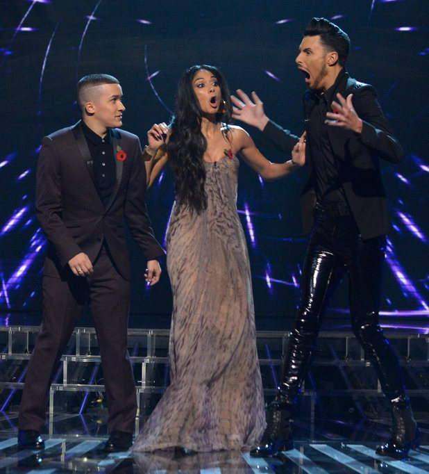 The X Factor Results Show: Rylan celebrates getting through to next week.