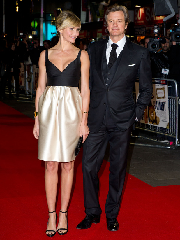 Cameron Diaz and Colin Firth attending the premiere of Gambit, at the Empire cinema in Leicester Square, London