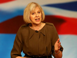 Home Secretary Theresa May addresses the Conservative Party conference at the International Convention Centre in Birmingham.