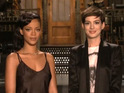 Anne Hathaway and Rihanna also mull an outfit swap in mini-sketch.