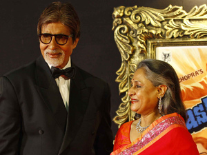 &#39;Jab Tak Hain Jaan&#39; premiere in Mumbai, India: Amitabh Bachchan and his wife Jaya Bachchan