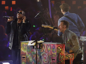 Coldplay and Jay-Z on stage together at the Paralympics