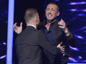 The X Factor: Christopher and Gary celebrate.