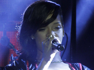 Rihanna performs during the first stop of her 777 worldwide tour at the Plaza Condesa in Mexico City
