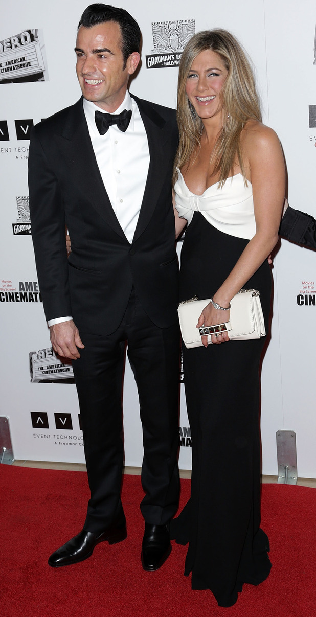 26th American Cinematheque Award Gala honoring Ben Stiller at The Beverly Hilton Hotel Featuring: Justin Theroux,Jennifer Aniston Where: Beverly Hills When: 15 Nov 2012