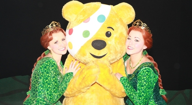 Amelia Lily and Carley Stenson in 'Shrek: The Musical' for BBC Children in Need's 'Pop Goes The Musical'.