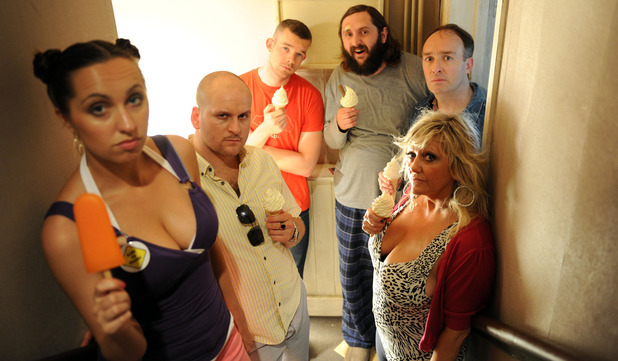 Him & Her: Laura (KERRY HOWARD), Paul (RICKY CHAMP), Steve (RUSSELL TOVEY), Dan (JOE WILKINSON), Jonathan (Neil Edmond), Shelly (CAMILLE CODURI)