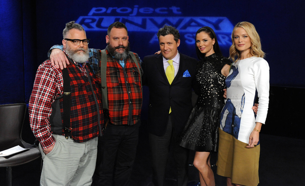 Project Runway All Stars S02E03: 'Up Your Aerosol' - Guest judges Jeffrey Costello and Robert Tagliapietra with Isaac Mizrahi, Georgina Chapman and Carolyn Murphy