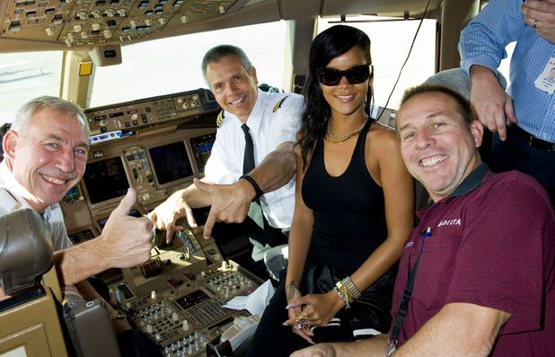 Day 1 of 7 on Rihanna&#39;s 777 Tour at LAX airport in Los Angeles en route to Mexico City.