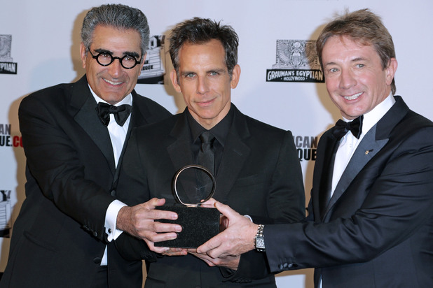 26th American Cinematheque Award Gala honoring Ben Stiller at The Beverly Hilton Hotel Featuring: Eugene Levy,honoree Ben Stiller,Martin Short Where: Beverly Hills