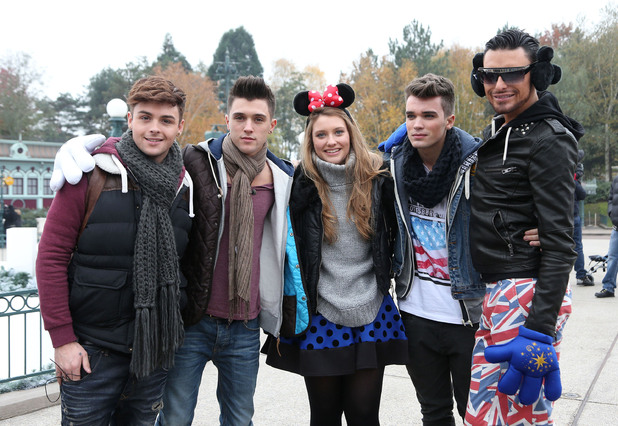 Jaymi Hensley, Jamie Hamblett and Josh Cuthbert of Union J, Ella Henderson, Rylan Clark The X Factor finalists enjoy a day out at Disneyland Paris Paris, France