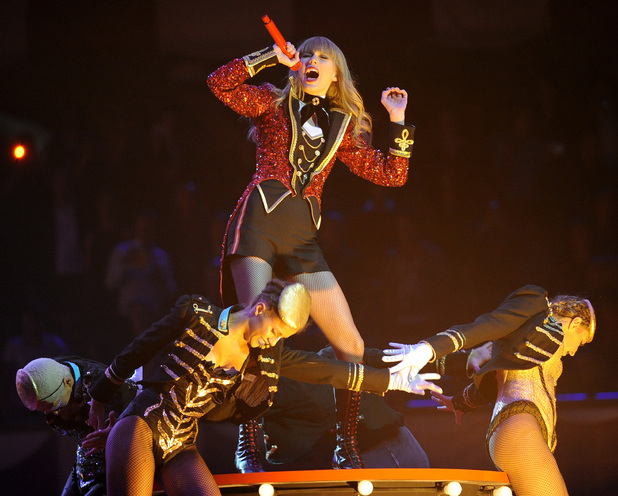 Taylor Swift performing at the MTV Europe Music Awards 2012 in Frankfurt, Germany